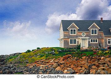maison, rivage, océan