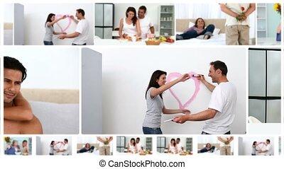 maison, romantique, montage, couples