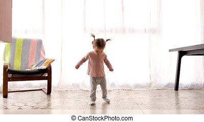 maison, rotation, enfant, danse