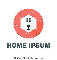 maison, rouges, logo