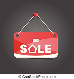 maison, rouges, vente, illustration, signe