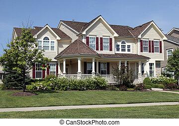 maison, rouges, volets