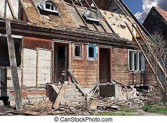 maison, rue, vieux, cassé