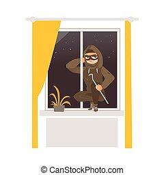 maison, rupture, masque, voleur, fenêtre, par