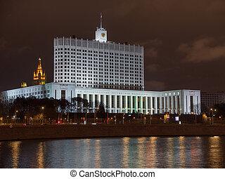 maison, russie, gouvernement, moscou, nuit