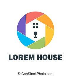 maison, sécurité, coloré, logo