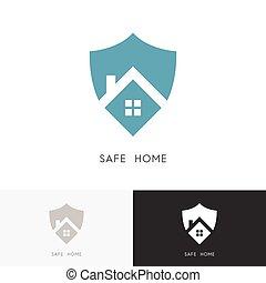 maison, sûr, logo