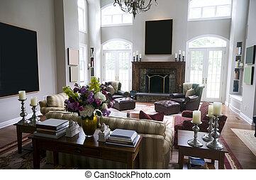 maison, salle de séjour, propriété, luxe