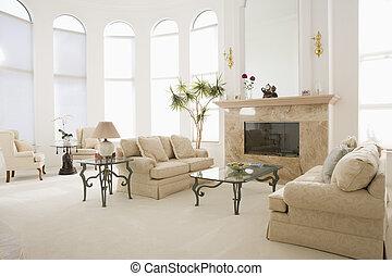 maison, salle de séjour, vide, luxueux
