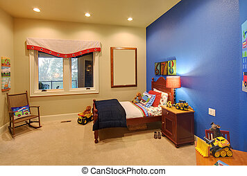 maison, salle moderne, enfants