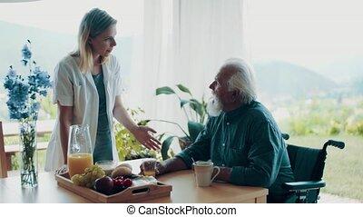 maison, santé, visit., personne agee, visiteur, homme, pendant