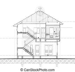 maison, section, coupure, -, plan
