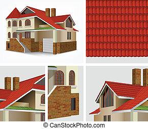maison, section, détails