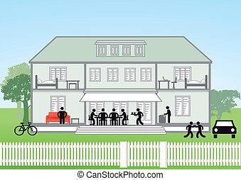 maison, section transversale, famille
