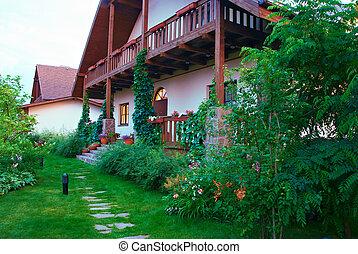 maison, sentier, jardin, fleurir