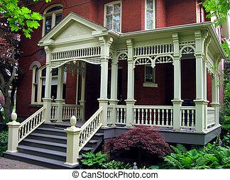 maison, siècle, porche
