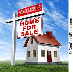 maison, signe, forclusion, maison, vente