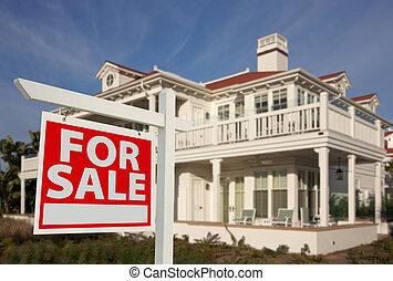 maison, signe vendre, &, nouvelle maison