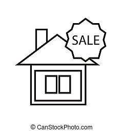 maison, signe vente, ligne mince, icône