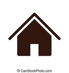 maison, silhouette, conception, icône, plat