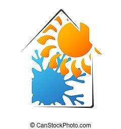 maison, silhouette, conditionnement, air