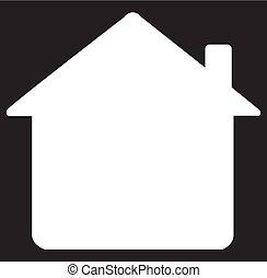 maison, silhouette, icône