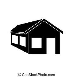 maison, silhouette, isolé, icône