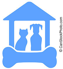 maison, silhouette, os chien, chat