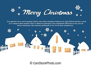 maison, silhouettes, bleu, joyeux, ciel, carte, nouveau, noël, fenêtre, lumière jaune, année, village, blanc