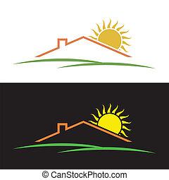 maison, silhouettes, collines, soleil