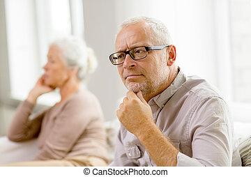 maison, sofa, couple, personne agee, séance