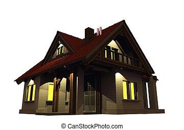 maison, soir, illumination