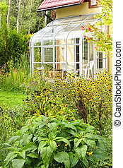 maison, solarium, jardin