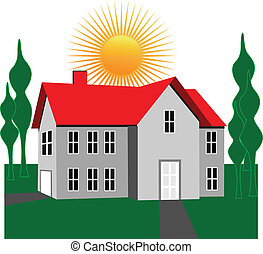 maison, soleil, arbres, logo