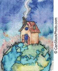 maison, sommet, mondiale