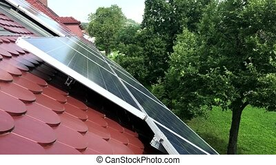 maison, sommet, panneaux, solaire, toit