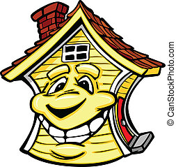 maison, sourire heureux, figure, jaune, vecteur, dessin animé