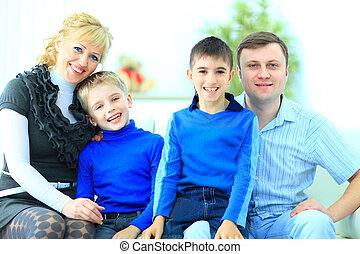 maison, sourire, portrait famille