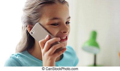 maison, sourire, smartphone, girl, appeler