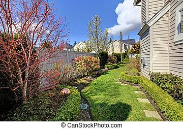 maison, spring., paysage, barrière, pendant