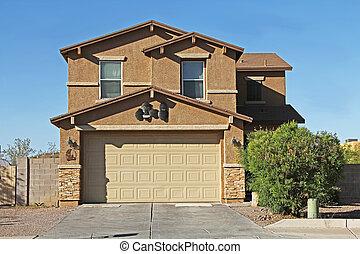 maison, stuc, deux-histoire, arizona, tucson
