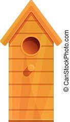 maison, style, élevé, icône, dessin animé, oiseau