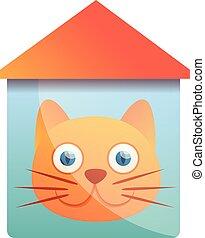 maison, style, dessin animé, logo, chat