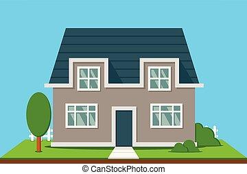 maison, suburbain, arbres