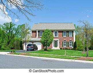 maison, suburbain, devant, famille seule, md, brique