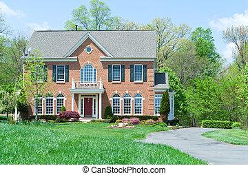 maison, suburbain, devant, famille seule, md, maison, brique