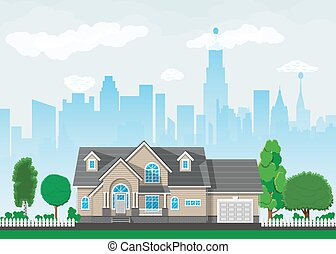 maison, suburbain, privé