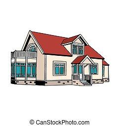maison, suburbain, two-storey