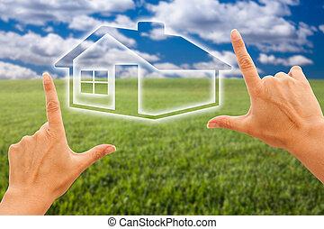 maison, sur, ciel, encadrement, femelle transmet, herbe