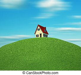 Maison colline clipart recherchez illustrations for Maison sur colline